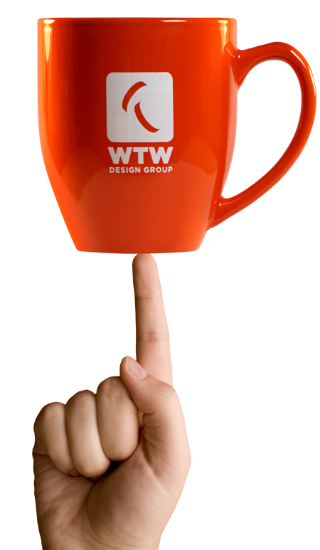 WTW mug balanced on hand