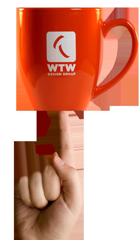 WTW mug balanced on hand